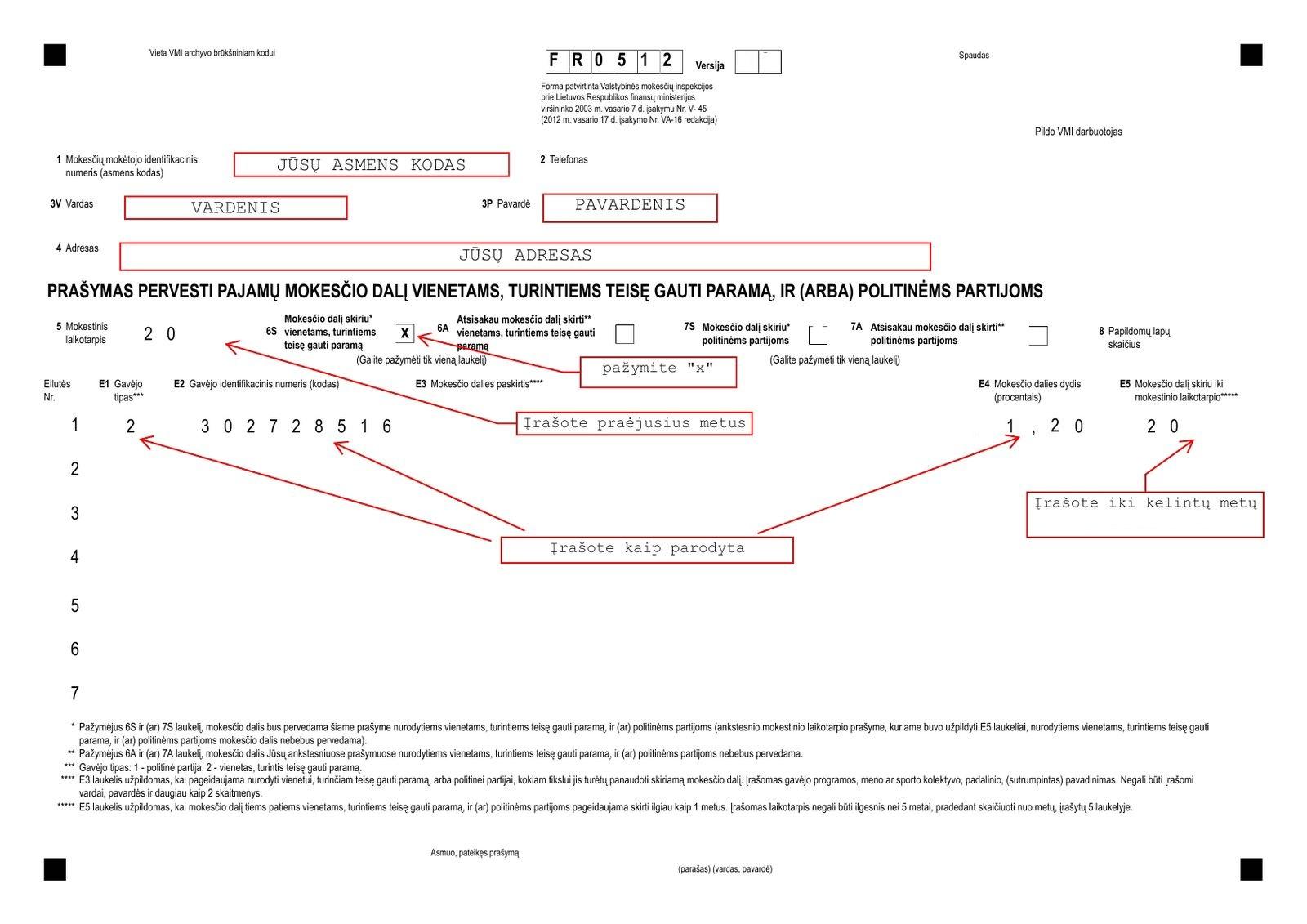 Instrukcija kaip pildyti paramos forma FR0512 v.02